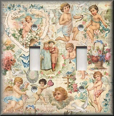 Metal Light Switch Plate Cover - Vintage Angels Cherubs Shabby Chic Decor Angel