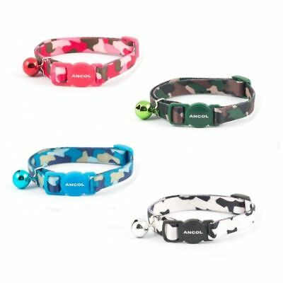 Ancol Camo Camouflage Army Nylon Safety Cat Collar White Green Blue Red