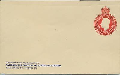 Stamp 3&1/2d red pre-printed to private order round KGV1 cover National Bag Co