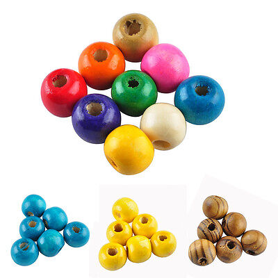 100 Pcs Round Wood Spacer Loose Beads Charms Jewelry Findings 10 mm Any Colors