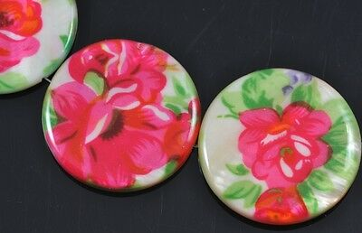 10x Hot Pink Flower Floral Flat Round  Disc Coin Shell Mother of Pearl  Beads