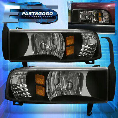 For 94-01 Dodge Ram Truck 1500 2500 1Pc Black Amber Housing Headlights Pair