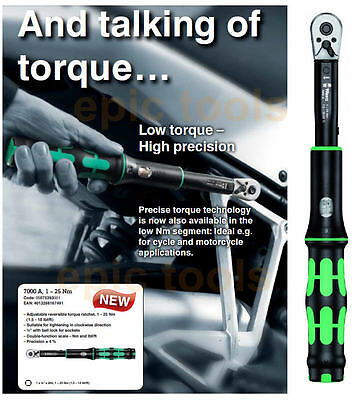 """WERA 1/4"""" Calibrated Torque Wrench Spanner,1 To 25Nm For Bike/Cycle/Motor,075393"""