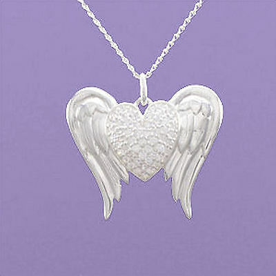 """925 Sterling Silver """"Angel Wings with Heart"""" 18""""/20"""" Pendant A869"""