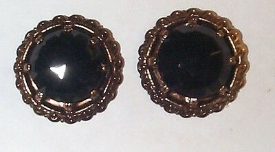 Vintage Faceted French Jet Black Glass Post Earrings Wow! Fancy / Grundge/goth