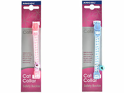 Ancol Dotty Cat Collar with Safety Buckle, blue, pink
