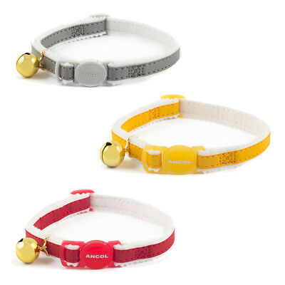 Ancol Cat Safety Collar With Bell -Reflective and Elasticated- Silver Yellow Red