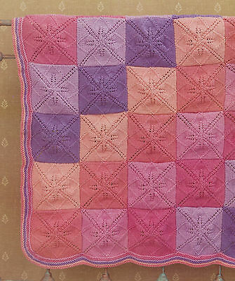 Baby Blanket Knitting Pattern Indivual Leaf Squares & Striped Border DK