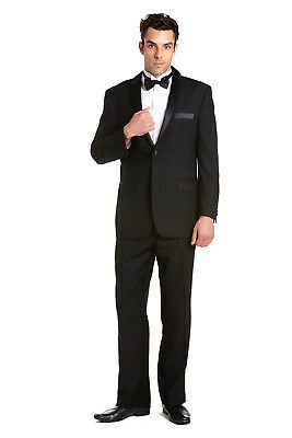 CONCITOR Men's Tuxedo Jacket Coat and Tux Pants Solid BLACK Color Two Button
