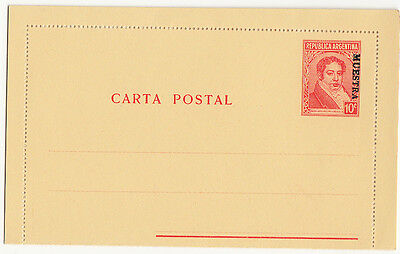 Stamps Argentina UPU issue postal card with MUESTRA, SPECIMEN overprint, nice