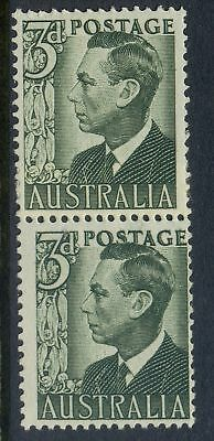 Stamps Australia 3d green KGV1 definitive coil perf pair large & small holes MUH