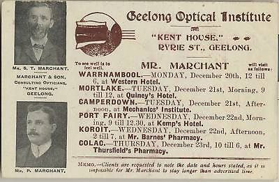 RARE postcard GEELONG Marchant & Son Optical consultants advertising & geese
