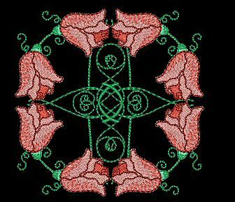 Flower Medallion Machine Embroidery Designs CD 4""