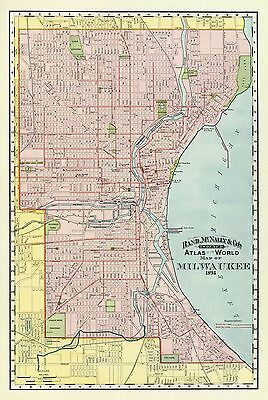 Vintage 1894 milwaukee map old antique original world atlas map old city map milwaukee wisconsin rand mcnally 1894 23 x 3431 gumiabroncs Images