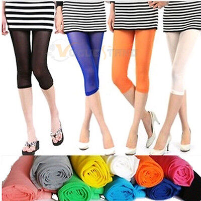 Fashion Women's Candy Color Lace Mesh Stretchy Cropped Leggings Tights Pants V28