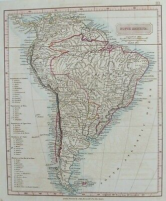 OLD ANTIQUE MAP SOUTH AMERICA FALKLAND ISLANDS c1820's by ARROWSMITH ENGRAVING
