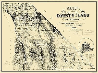 Old County Map - Inyo California - 1884 - 30.5 x 23