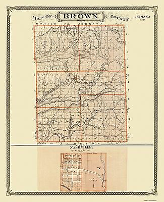 Old County Map - Brown Indiana Landowner - 1876 - 23 x 28.25