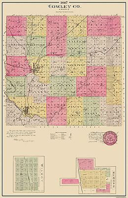 Old County Map - Cowley Kansas - Everts 1887 - 23 x 35.31