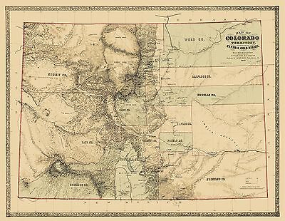 Old State Map - Colorado Territory, Gold Region - 1862 - 29.63 x 23