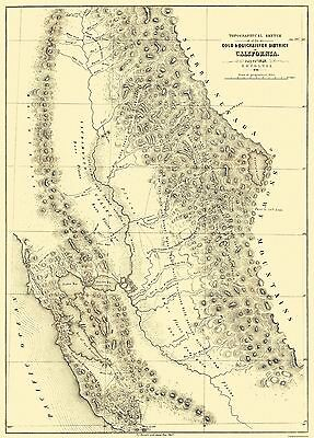 Old Mining Map - Gold, Quicksilver District California - 1848 - 23 x 32