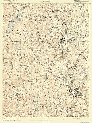 Topographical Map Print - Waterbury Connecticut Sheet - USGS 1892 - 17 x 22.63