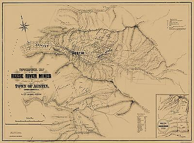 Old Mining Map - Reese River Mines Nevada - 1863 - 31 x 23
