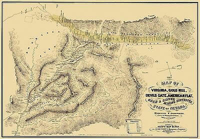 Old Mining Map - Gold, Silver Mining Districts Nevada - 1865 - 33 x 23