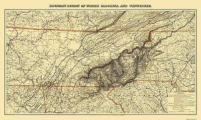 Old State Map - Great Smoky Mountain, Region Tennessee - 1864 - 38.63 x 23