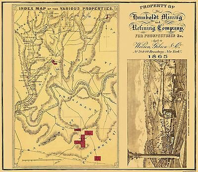 Old Mining Map - Humboldt Mining and Refining Co Pennsylvania 1865 - 26 x 23