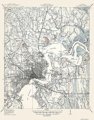 Topographical Map Print - Jacksonville Florida Quad - USGS 1917 - 17 x 21.69