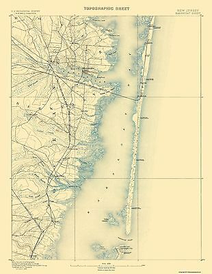 Topographical Map Print - Barnegat New Jersey Sheet - USGS 1884 - 17 x 21.94