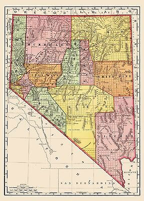 Old State Map - Nevada - Rand McNally 1893 - 23 x 32