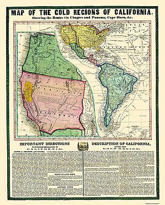 Old Mining Map - Map Of The Gold Regions California - 1849 - 23 x 28.56