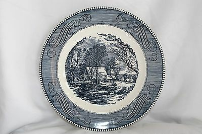 """Royal China Blue Currier & Ives The Old Grist Mill Single 10"""" Dinner Plate"""