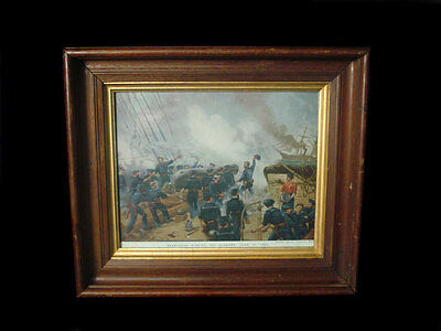 Framed Prang Litho Kearsage Sinking The Alabama 1864 Civil War