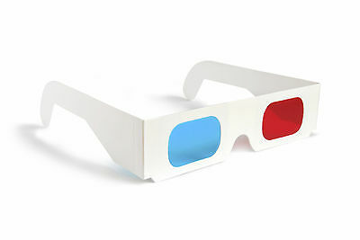 3D Paper Glasses  White Card Red Cyan Blue Lenses Anaglyph (Pack of 10)