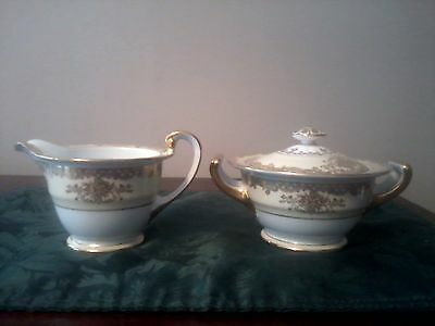 Noritake Yellow And White creamer And Sugar Bowl /lid  With Gold Trim