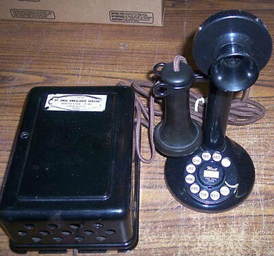 Western Electric 51Al Wired To Metal Ringer Box With #2 Clicky Dial Telephone