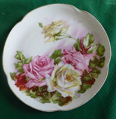 "ANTIQUE ROSE PLATE LOUISE BAVARIA J&C HAND PAINTED 8 1/2"" CHIC PINK WHITE YELLOW"