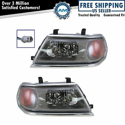 Headlights Headlamps w/Chrome Trim Left & Right Pair Set for 00-04 Montero Sport