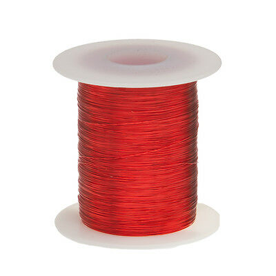 "32 AWG Gauge Enameled Copper Magnet Wire 8oz 2502' Length 0.0087"" 155C Red"