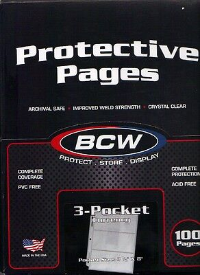 100 Pages*bcw*3-Pockets Currency Collectors Holders Sleeves Pages*lot M23*