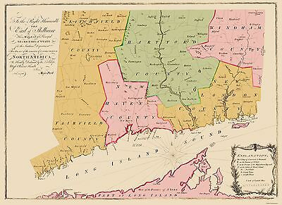 Old State Map - Connecticut Colony - 1766 - 23 x 31.56