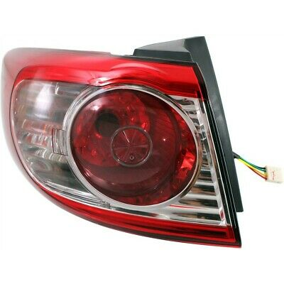 Halogen Tail Light For 2010-2012 Hyundai Santa Fe Left Outer Clear/Red w/ Bulbs