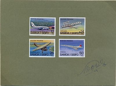 Aeroplane stamps SAMOA imperforated proofs from printer in sheetlet
