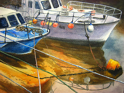 New Painting Seascape Fishing Boat Sea Reflection Water Ocean Yacht Wharf 8x11