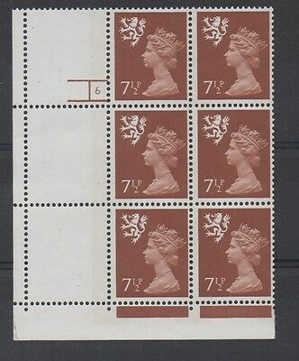 Scotland. S25. 7 1/2p Chestnut cylinder block x 6. Unmounted mint.