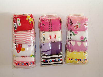 New 4 Pairs of Girls Cotton Winter Tights 6-12 Months