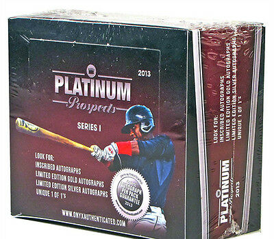 2013 Onyx Platinum Prospects Baseball Hobby Box Seal Signed Baseball Autograph
